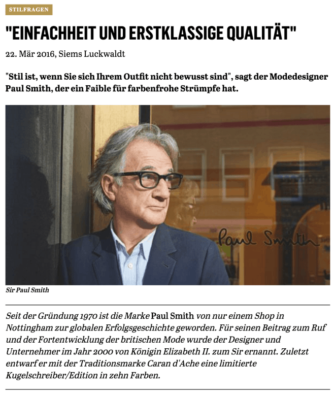 Was Mann trägt: Sir Paul Smith (für Capital.de)