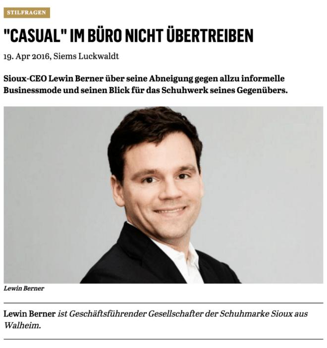 Was Mann trägt: Lewin Berner, Sioux (für Capital.de)