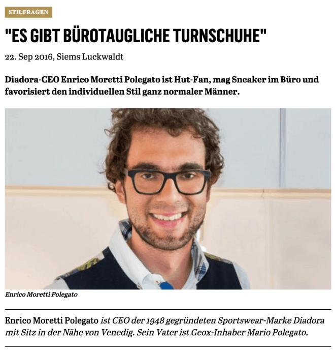Was Mann trägt: Enrico Moretti Polegato, Diadora (für Capital.de)