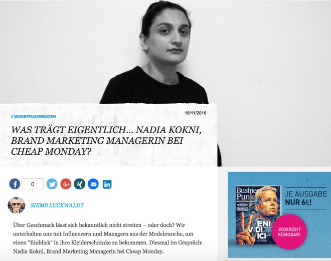 Was trägt eigentlich Nadia Kokni, Cheap Monday (für Business-Punk.com)