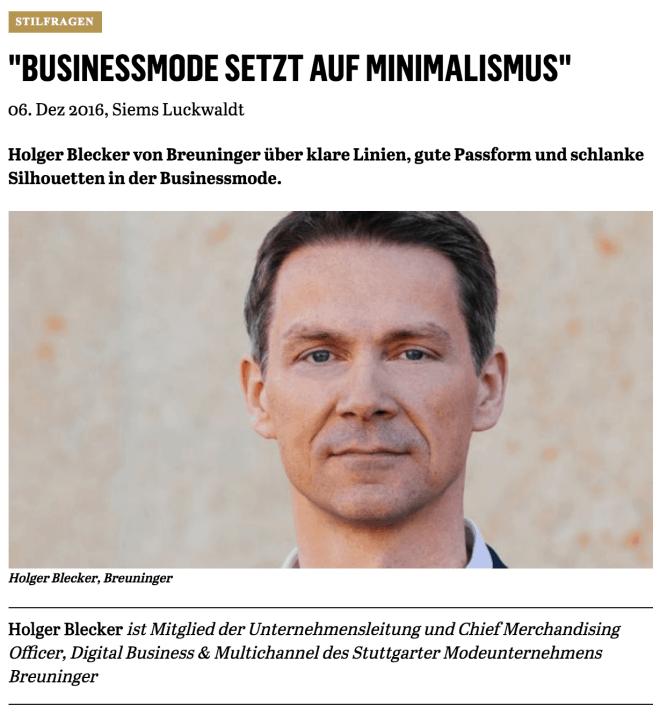 Was trägt eigentlich Holger Blecker, Breuninger (für Capital.de)