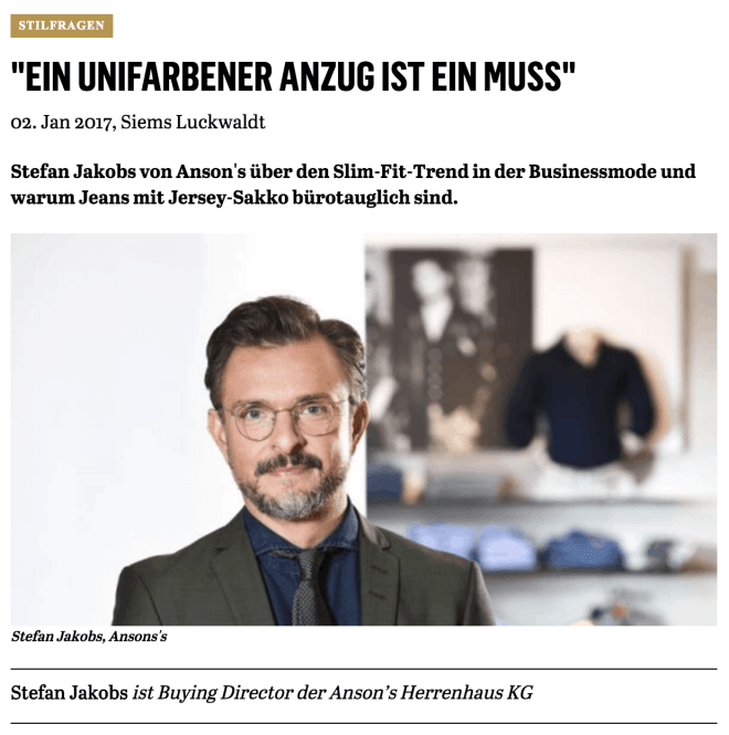 Was Mann trägt: Stefan Jakobs, Anson's (für Capital.de)