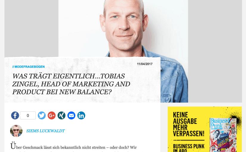 Was trägt eigentlich Tobias Zingel, Head of Marketing and Product, New Balance (für Business-Punk.com)
