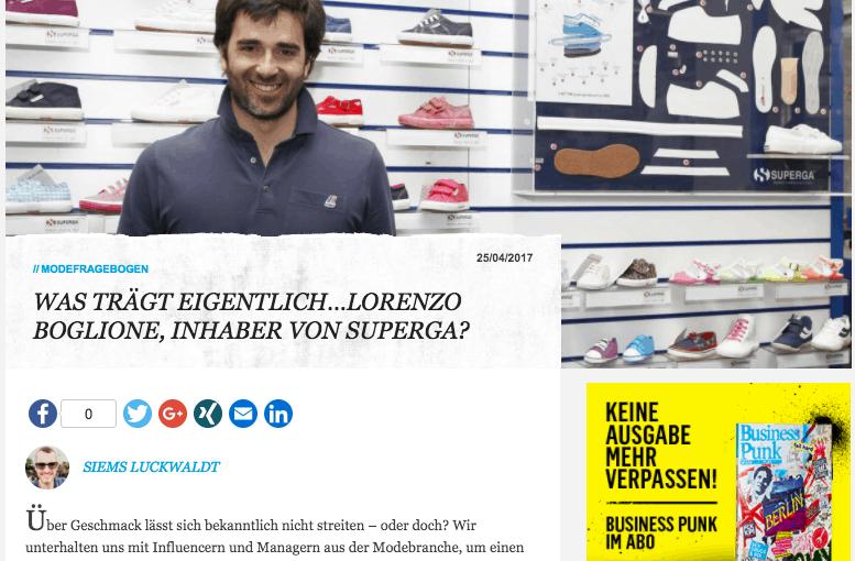 Was trägt eigentlich Lorenzo Boglione, Superga (für Business-Punk.com)