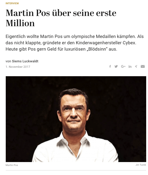 Interview: Martin Pos, Cybex, über seine erste Million (für Capital)