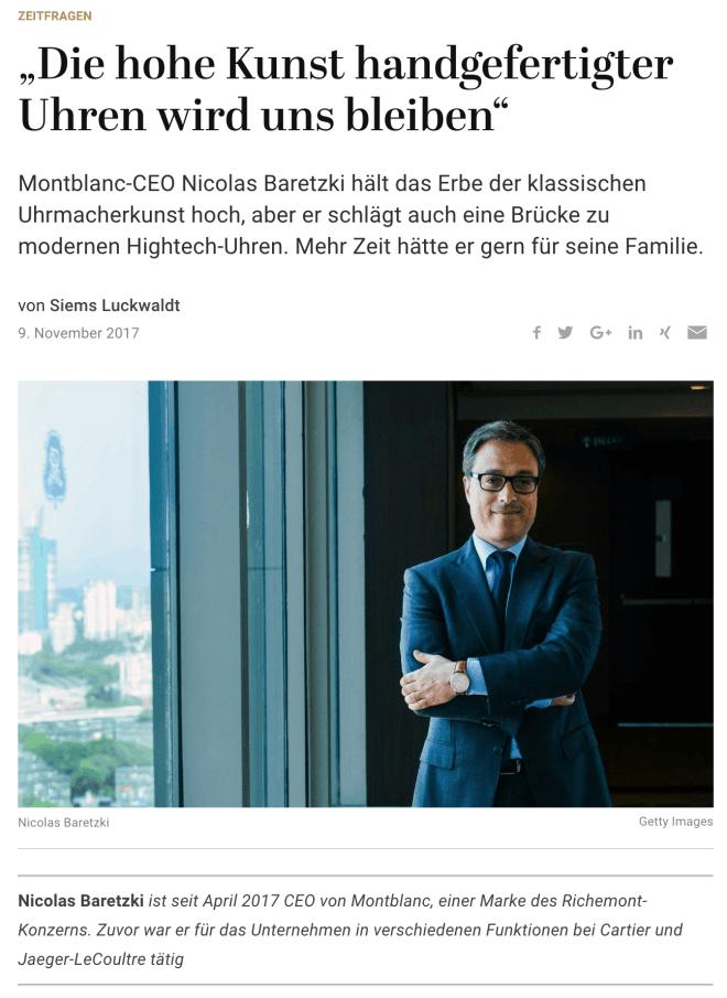 Zeitfragen: Nicolas Baretzki, Montblanc (für Capital.de)