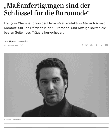 Was Mann trägt: Francois Chambaud, Atelier NA (für Capital.de)