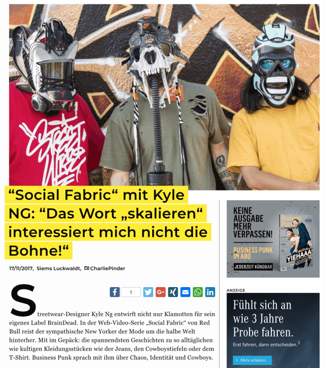 Interview: Kyle NG, BrainDead und Red Bull TV (für Business-Punk.com)