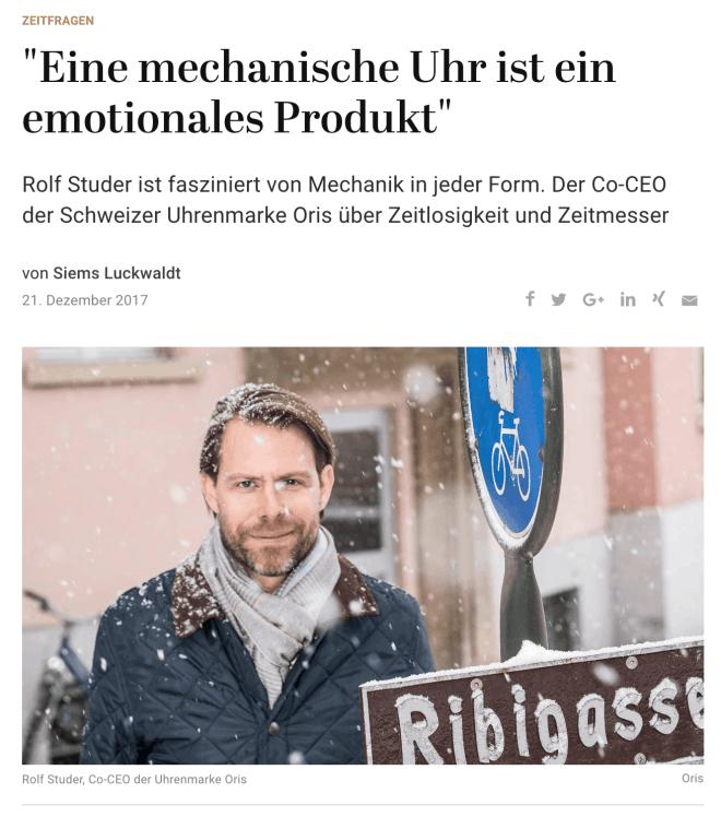 Zeitfragen: Rolf Studer, Oris (für Capital.de)