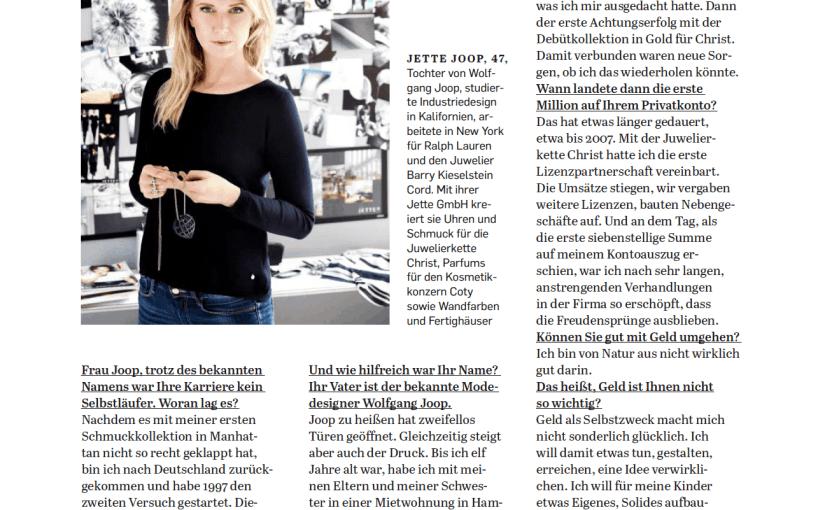 Interview: Jette Joop über ihre erste Million (für Capital)