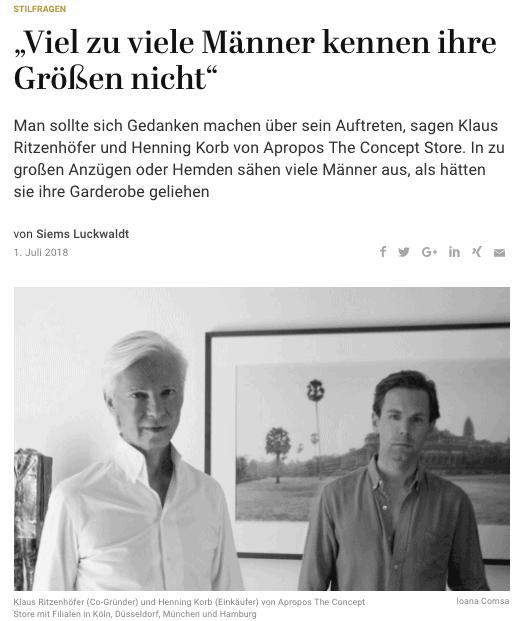 Was Mann trägt: Klaus Ritzenhöfer & Henning Korb, Apropos The Concept Store (für Capital.de)