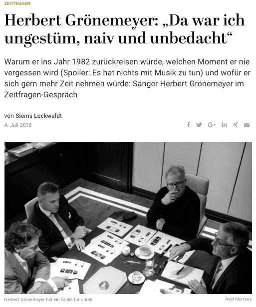 Zeitfragen: Herbert Grönemeyer x Wempe (für Capital.de)