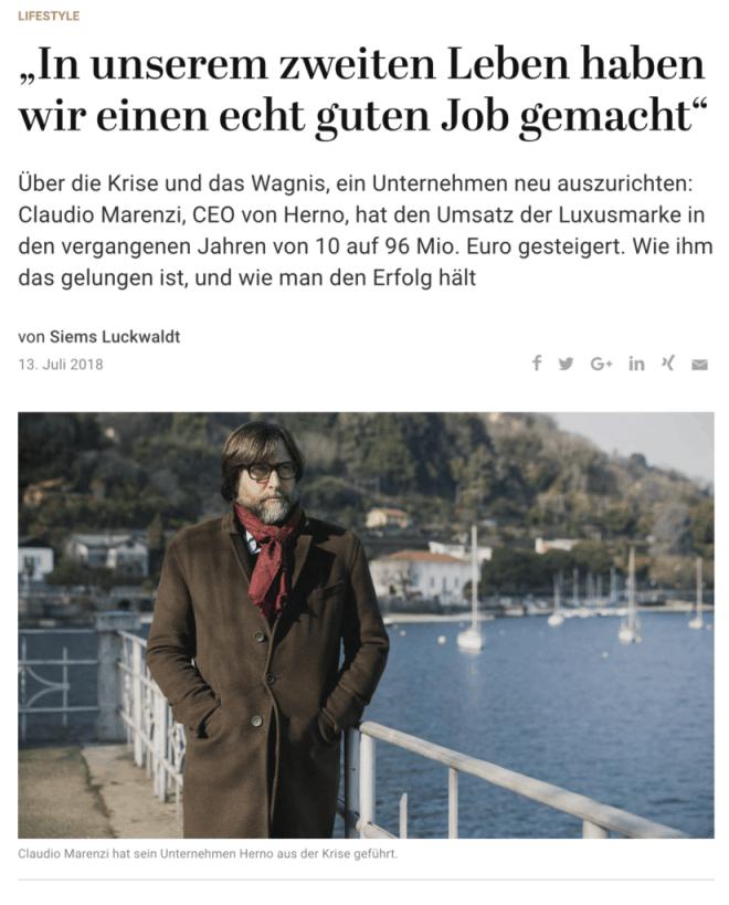 Interview: Claudio Marenzi, Herno (für Capital.de)