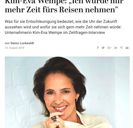 Zeitfragen: Kim-Eva Wempe (für Capital.de)