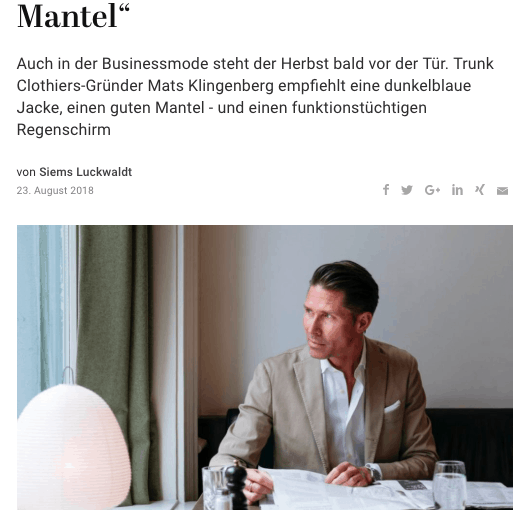 Was Mann trägt: Mats Klingenberg, Trunk Clothiers (für Capital.de)