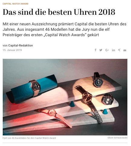 Die besten Uhren 2018 (für Capital.de)