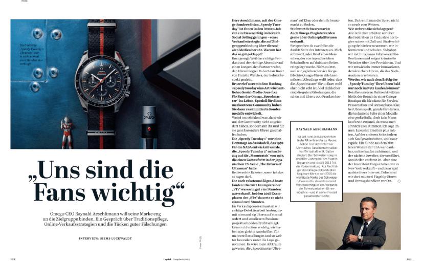 Interview: Raynald Aeschlimann, Omega (für Capital)