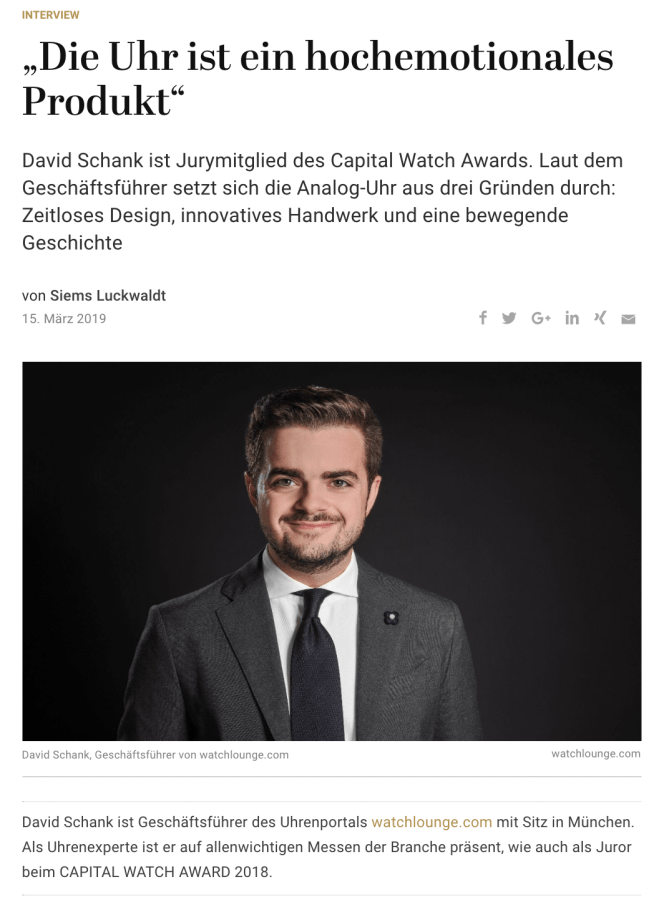 Capital Watch Award 2018: Meet the Jury – David Schank, Watchlounge (für Capital.de)