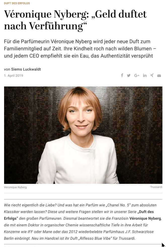 Duft des Erfolgs: Véronique Nyberg, Trussardi u.a. (für Capital.de)