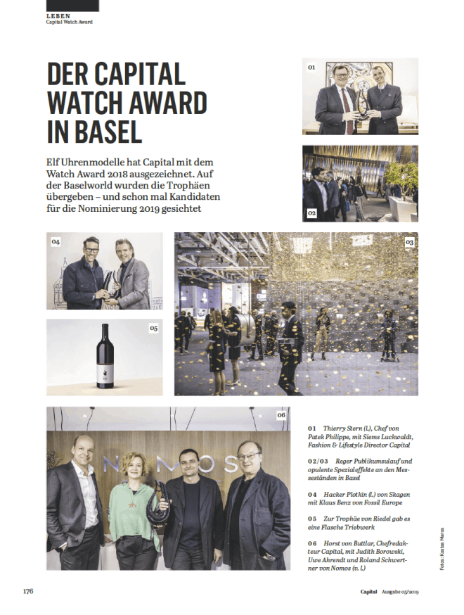 Capital Watch Award 2018: Preisübergabe, BaselWorld (für Capital)