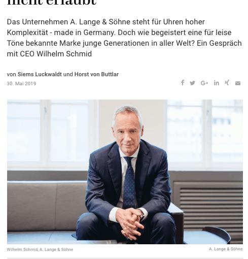 Interview: Wilhelm Schmid, A. Lange & Söhne (für Capital.de)