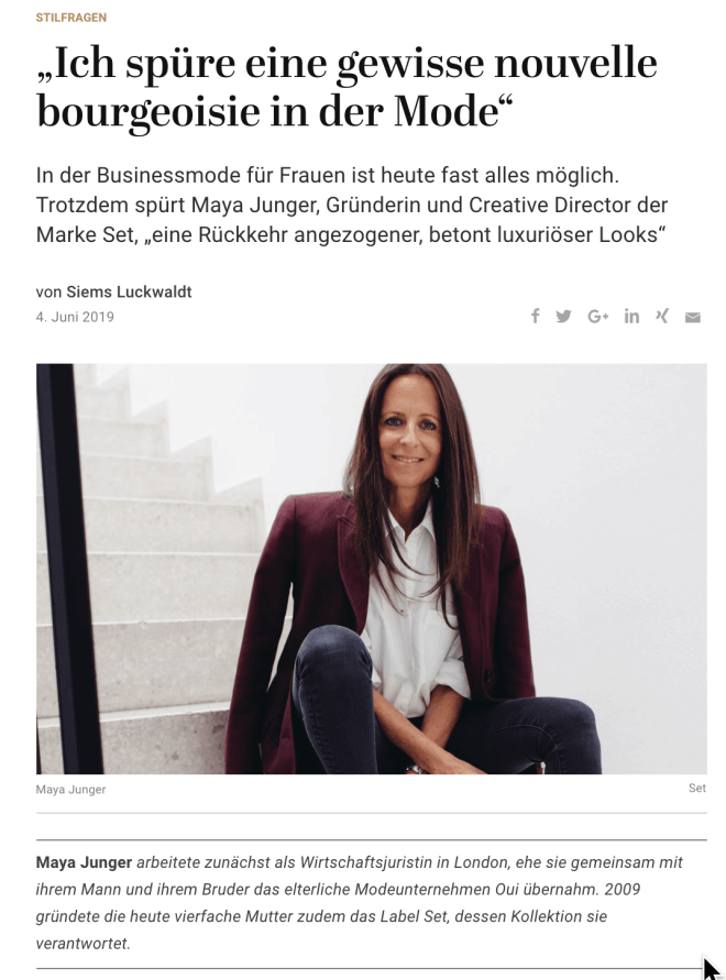 Stilfragen – Women's Edition: Maya Junger, Set (für Capital.de)
