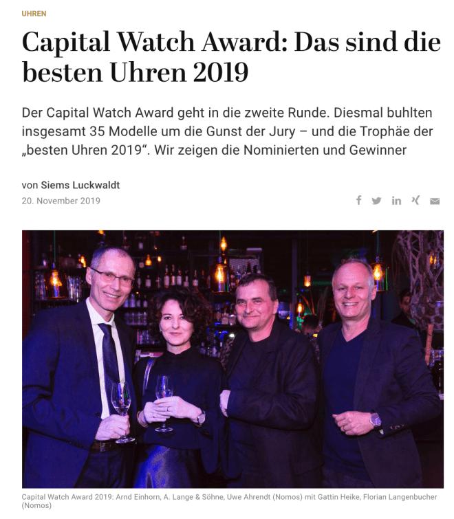 Capital Watch Award: Das sind die besten Uhren 2019 (für Capital.de)