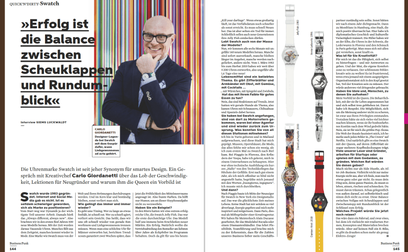 Interview: Carlo Giordanetti, Swatch (für Business Punk)