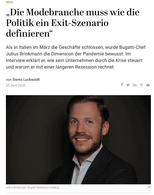 Interview: Julius Brinkmann, Bugatti Brinkmann Holding (für Capital.de)