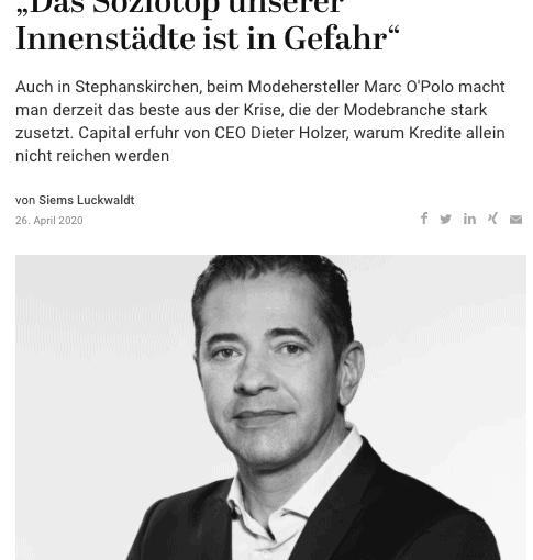 Interview: Dieter Holzer, Marc O'Polo (für Capital.de)