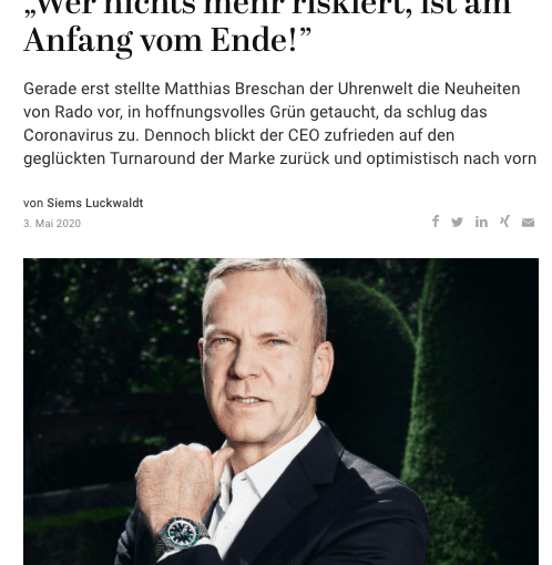 Interview: Matthias Breschan, Rado (für Capital.de)