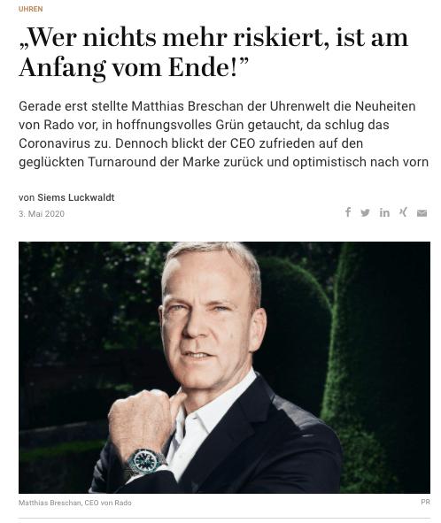 Interview: Matthias Breschan, Rado (für Capital.de)