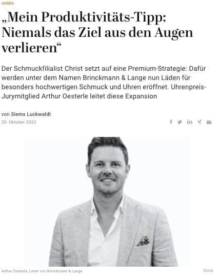 Capital Watch Award 2020: Meet the Jury – Arthur Oesterle, Brinckmann & Lange (für Capital.de)