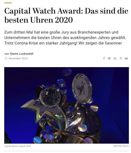 Capital Watch Award: Das sind die besten Uhren 2020 (für Capital.de)