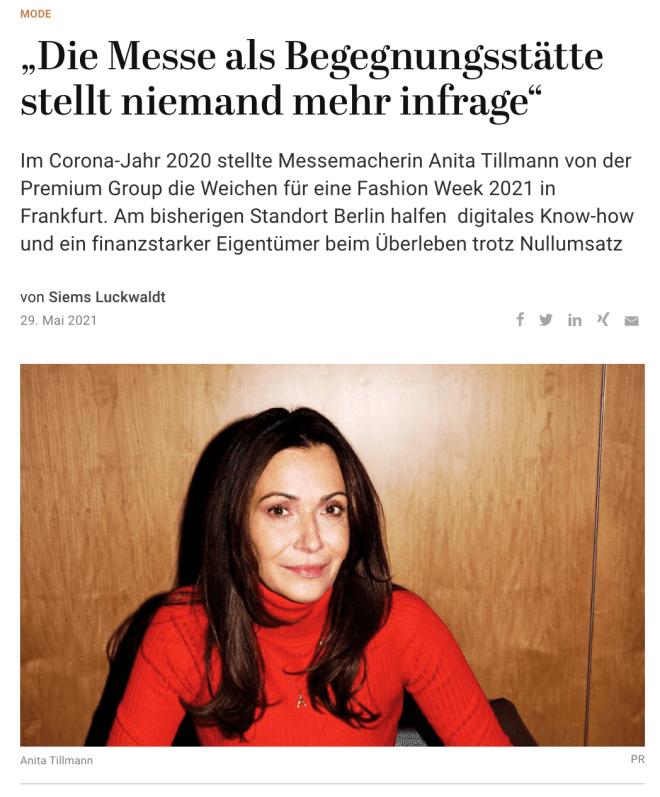 Interview: Anita Tillmann, Premium Group (für Capital)