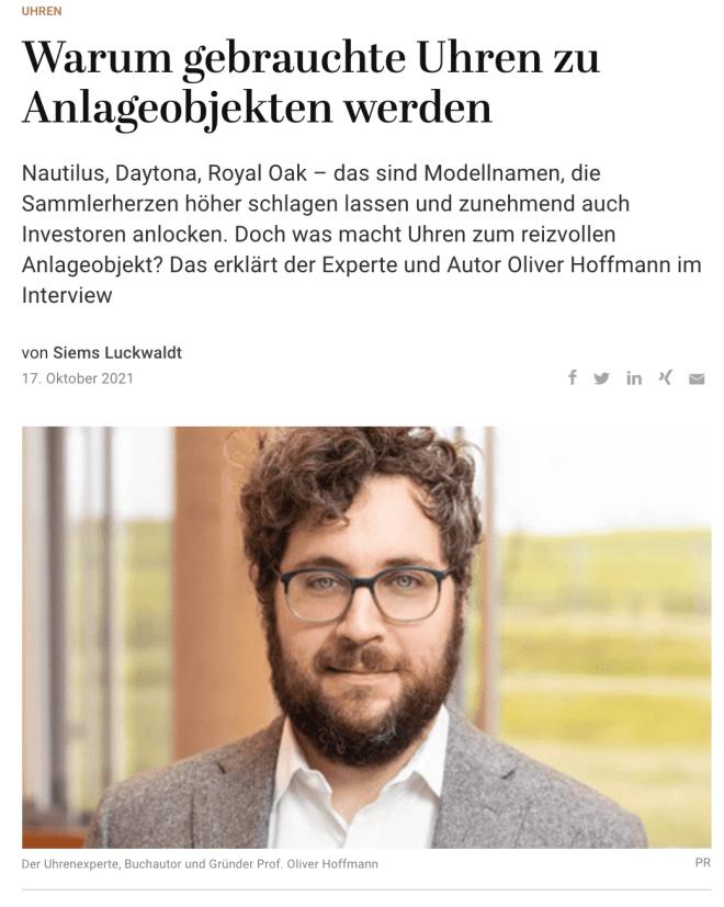 Interview: Prof. Oliver Hoffmann, Uhrenexperte (für Capital.de)