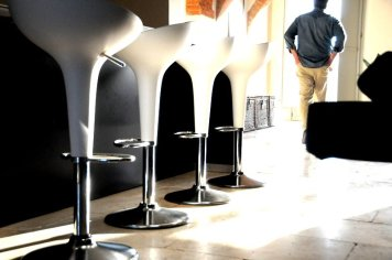 Image of the Bombo stools on the ground floor of Siena House, image with a design hotel feel