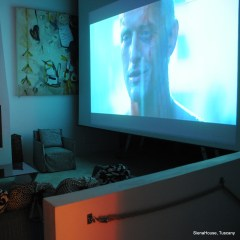 Image of a large screen with a still from Bladerunner visible it s the Occasional cinema at siena house