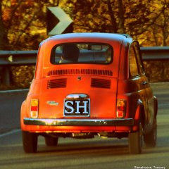 Image of Fiat 500 nipping along a Tuscan country road