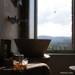 Image of Acqua di Parma's 'Profumo' in a bath room at Siena House Tuscany