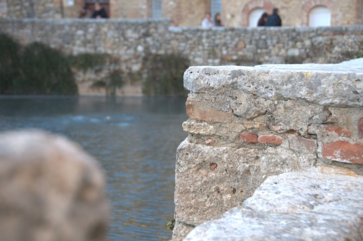 Image showing detail of the roman bath in the spa town of bagno vignone in val d orcia area of tuscany unesco