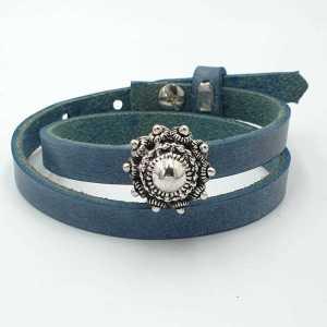 Leren Armband Ava met zeeuwse knop jeansblauw