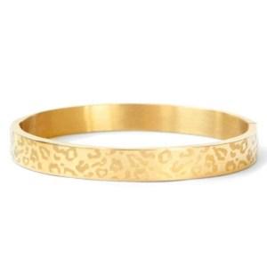 Roestvrij stalen (RVS) gouden armband leopard print (8mm)