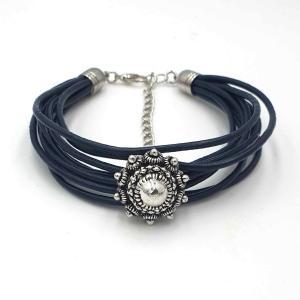 Leren armband Zeeuwse knop donkerblauw