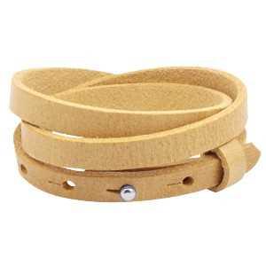 Leren armband Ava met zeeuwse knop 3 dubbel oker geel