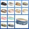 Verstelbare leren dubbele armband met delftsblauwe schuiver