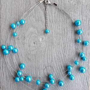 Ketting Janelle van glasparels turquoise