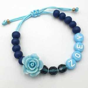 Ibiza armband Evi met naam aqua