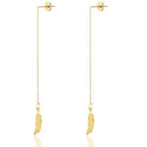 Roestvrij stalen (RVS) Stainless steel oorbellen feather goud