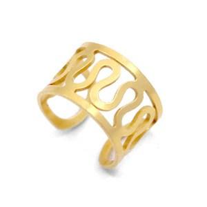 Roestvrij stalen (RVS) Stainless steel oorbellen ear cuff swirl goud